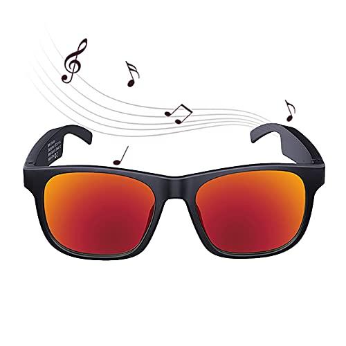 FRIBLSKEL Gafas Sol Bluetooth,Gafas Audio Inalámbricas,Lentes Polarizadas Batería Larga Duración 100H IPX4 A Prueba Agua Gafas Sol para Hombre Mujer Conducir Viajar Aire Libre,Rojo