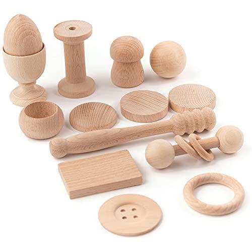 Cesto Tesoros Montessori Artesano, 14 piezas de madera, juego para bebé +6 meses