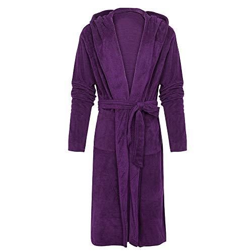YUHUALI Bademantel Männer Baumwolle Herren Winter Plüsch verlängert Schal Bademantel Männer Handtuch Home Kleidung Langarm Robe Coat Lila XXL