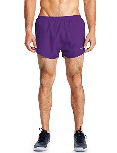 BALEAF Men's 3 Inches Running Shorts Quick Dry Gym Athletic Shorts Purple Size L