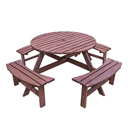 CTlite 6-Sitzer-Holz-Picknicktisch und Bank, rund, für Garten, Kneipe, Picknick, mit Sonnenschirmloch