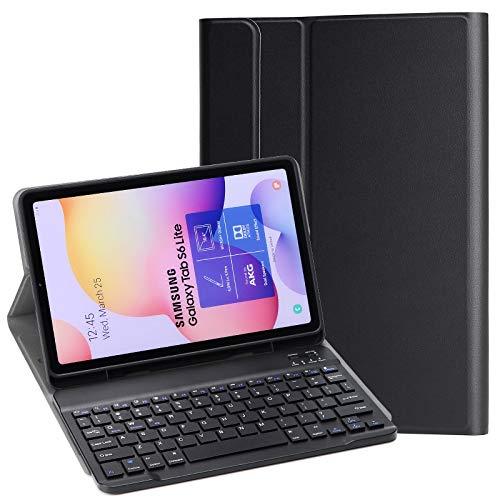 KILISON Tastiera Custodia per Samsung Galaxy Tab S6 Lite 10.4 2020 Cover, Slim Pelle PU Case [QWERTY Layout] con Rimovibile Wireless Keyboard Tastiera per Samsung Galaxy Tab S6 Lite 10.4, Nero