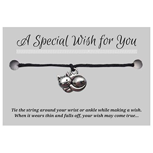 Kitty Cat Black Wish Bracelet - Hemp with Silver Tone Charm on Printed Card - Adjustable - Unisex