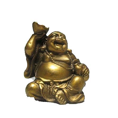 Fashion158 Statue de Bouddha Rieur et Lingot en cuivre