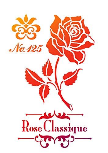 Pochoir « Rose classique », format A4