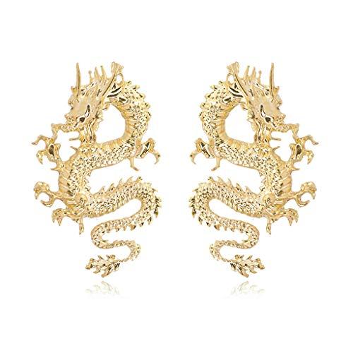 niumanery Punk Rock Firery Dragon Stud Earrings Thrones Costume Game Merchandise Jewelry Gold