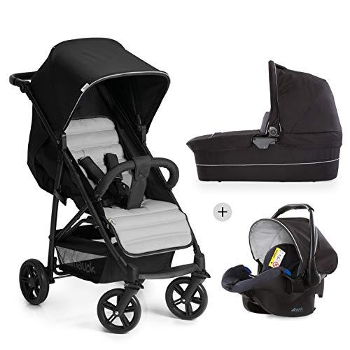 Hauck Rapid 4 Plus Trio Set 3 in 1 Kinderwagen Set bis 25 kg, isofix-fähige Babyschale, Babywanne mit Matratze ab Geburt, höhenverstellbarer Griff, klein faltbar, leicht - schwarz grau