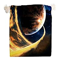 エコバッグ ポーチ ラッピング 巾着袋 宇宙の惑星 流れ星 銀河 収納袋 収納ポーチ 化粧品ポーチ きんちゃく袋 プレゼント包装 小銭 小物入れ 大容量 洗濯可能 可愛い 飾り物パーツ 軽量 防塵 旅行 出張 自宅用