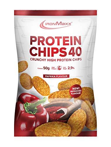 IronMaxx Protein Chips 40 – High Protein Chips, low carb, fettarm und zuckerreduziert – Paprika Geschmack – 10 x 50 g