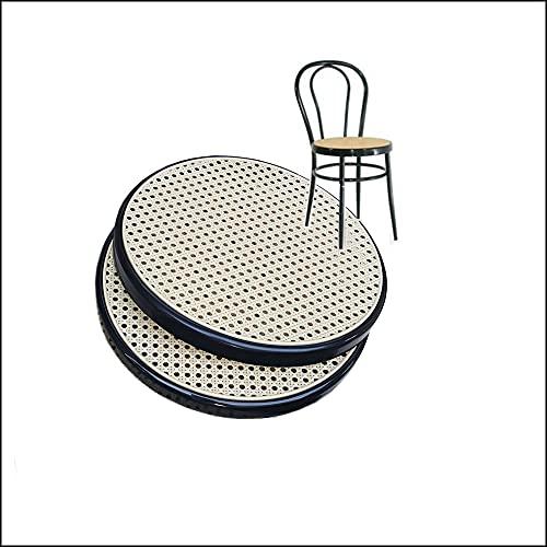2 Replacement de Fauteuil Bistrot Metal FACILCASA - Siège Rond, Remplacement Chaise Thonet en Plastique - Remplacez et Economisez avec Notre Remplacement Paille Vienna (2 Anneau Noir)