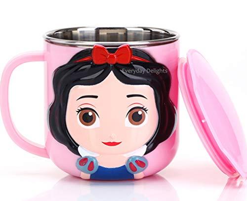 Disney 3D Princess Snow White Pink Durable Edelstahl Isolierbecher mit Deckel, 250 ml