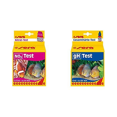 Sera 04510 Nitrat Test (NO3), Wassertest für 60 Messungen, misst zuverlässig und genau den Nitratgehalt & Gesamthärte Test (GH), misst zuverlässig und genau die Gesamthärte, im Aquarium oder Teich