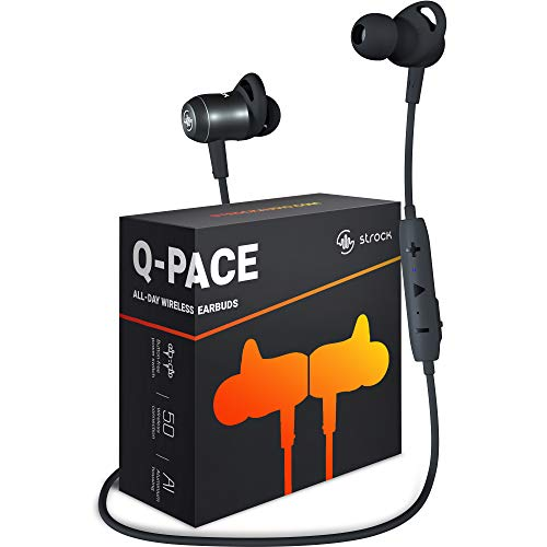 Q-PACE Wireless Earbuds with Bluetooth 5.0, Magnetic On/Off, Aluminum Design - High-End Sound, in-Ear Headphones with Microphone, 9 Hours Playtime, Running Earphones for Sports by Strock