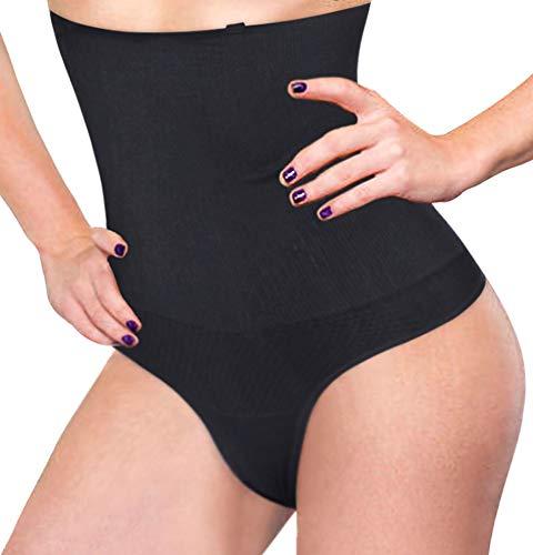 Bafully Damen Butt Lifter Shapewear Hohe Taille Miederslip Bauch Slimmer Thong Panty Nahtlose Body Shaping-Unterwäsche (XS/S, Schwarz)