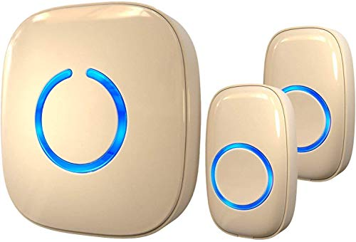 SadoTech Model CX Waterproof Wireless Doorbell Kit Battery Operated with 2 Push Button Transmitters and 1 Receiver, Beige