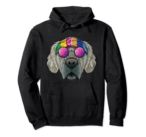 Hippie Golden Retriever Love Peace Sign 70s Hippie Dog Sudadera con Capucha