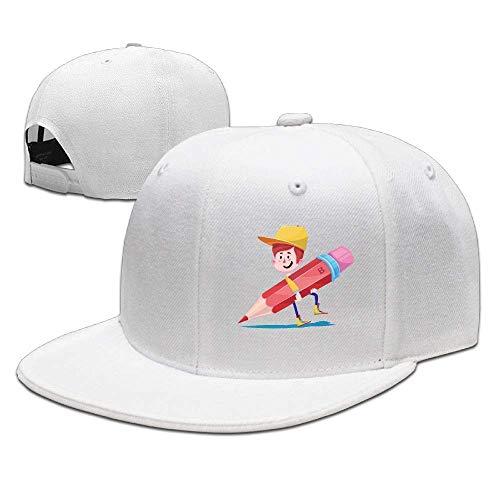Whiteboard Home Flat Visor Baseball Cap, Designed Snapback Hat Natural
