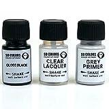 Kit de reparación de bolígrafos de pintura para retocar de 5 ml, para llantas de aleación de color negro brillante (pintura+imprimación+laca)