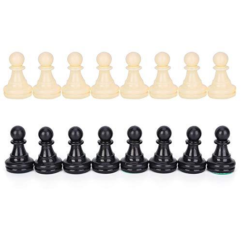 Juego de ajedrez Juego de Piezas de ajedrez de plástico Blanco y Negro para Piezas de ajedrez internacionales estándar 32 Piezas de ajedrez de Torneo de reemplazo(77mm)