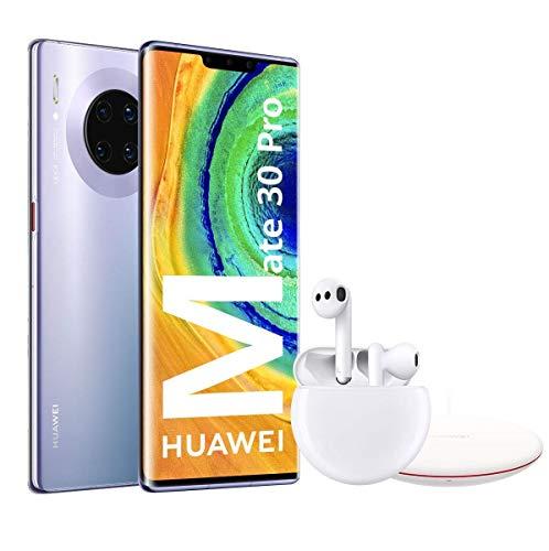 """HUAWEI Mate30 Pro - Smartphone con Pantalla Curva de 6.53"""" (Kirin 990, 8 + 256 GB, Cuádruple cámara Leica, Batería de 4500 mAh), Color Space Silver + Freebuds 3 + Wireless Charger"""