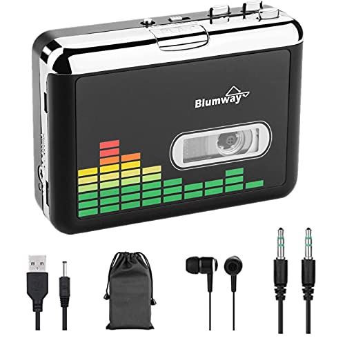 Cassette to MP3 Converter, BlumWay Portable Cassette Recorder Player, Audio Music Cassette Tape to Digital Converter Player with Earphone, No Need Computer (Renewed)