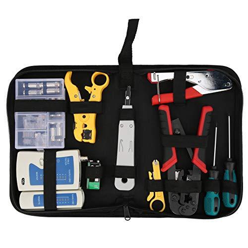 lyrlody Kit de Herramientas de Mantenimiento del probador de Cables, Kit de Herramientas de prensado Profesional RJ45 Kit de Herramientas de reparación de Cables de Red, con Bolsa con Cremallera
