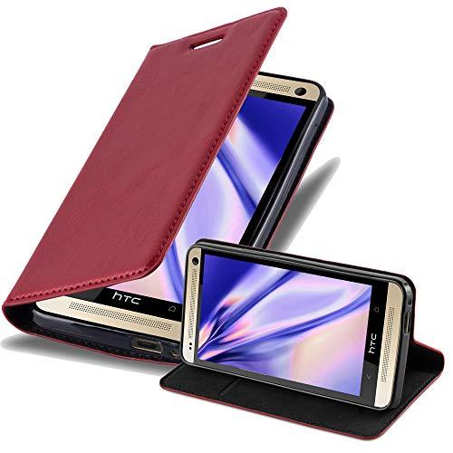 Cadorabo Hülle für HTC ONE M7 (1.Gen.) - Hülle in Apfel ROT – Handyhülle mit Magnetverschluss, Standfunktion und Kartenfach - Case Cover Schutzhülle Etui Tasche Book Klapp Style