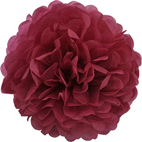 Creativery 10 Papier Pompon 20cm Set (weinrot/Bordeaux 270) // Pompom Bommel Papier Kugel Seidenpapier Pompon Blumen Deko Hängedeko Raumdeko