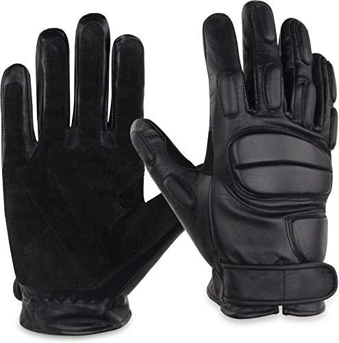 normani Leder-Handschuhe aus Rindsleder mit Kevlarfutter und Protektoren - Schnitthemmend, hohe Schlagkraft Größe XL