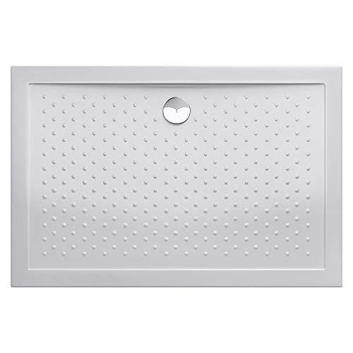 doporro Plato de ducha plano de 90x140x4 diseño Lucia04 en blanco con perfil antideslizante y conexiones - DIN también apto para instalación a ras de suelo