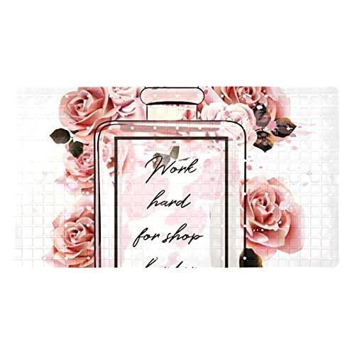 GORDESC Esterillas de baño originales para bañera (39,8 x 70,9 cm), diseño de botella de cristal rosa con estampado de botellas para adultos y niños, bañeras suaves y sin textura
