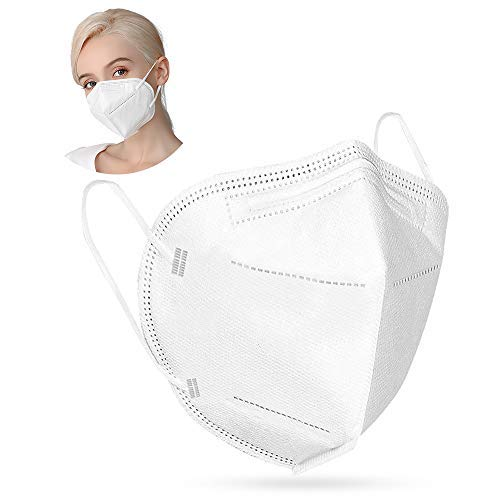 50 Pcs Face Mask 5-Layer White Masks Liquid and Dust Proof Face Protection 3D Foldable Fitting Design with Stretchy Ear Loops