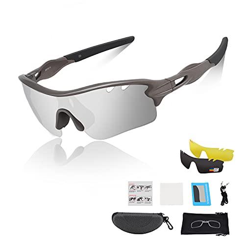 DUDUKING Gafas Sol Polarizadas Niño Adolescente Gafas de Sol Deportivas UV 400 Protección Gafas con 3 Rodajas De Lentes Intercambiables para Ciclismo Correr Golf Beisbol Surf Conducción Esquiando