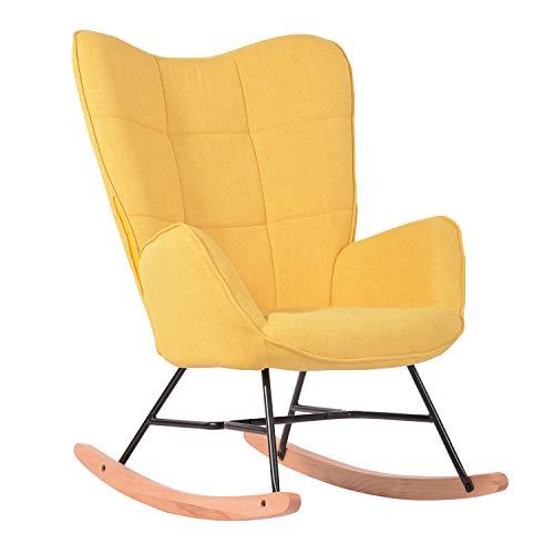 MEUBLE COSY Kelan Yellow Schaukelstuhl, Freizeit-und Ruhestuhl, Stoff, gelb, für Wohnzimmer, Esszimmer, Füße, Holz, Metall, 69x84x97cm