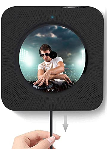 CDプレーヤー 置き&壁掛け式 1台多役 プルスイッチ式 Bluetooth USB対応 microSD LEDディスプレイ 新バージョンのリモコン付き音楽再生/語学学習/胎児教育 日本語説明書付きオフ