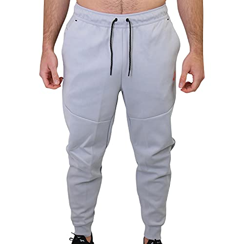 Nike Pantalones de chándal para hombre, de forro polar, color gris, Hombre, CU4495, Gris (Wolf Grey/Turf Orange), medium