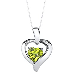 Sterling Silver Heart in Heart Pendant In Peridot Colored Stone