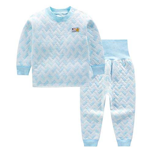 Babykleidung,Baby Schlafanzug Winter, dick warm, schöne Volltonfarbe gesteppt Pyjamas ,dreilagig Gesteppte Herbst und Winterkinder warm, Hellblau, 73cm