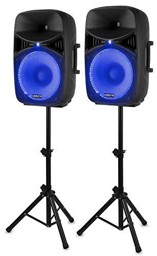 """Vonyx VPS152A Set di Altoparlanti Attivi 1000 W 15"""" (38 cm) Porta USB/SD MP3 BT"""