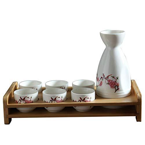 MISS KANG Juego de vasos japoneses con estante de 8 piezas de taza de sake tradicional de porcelana cerámica tazas artesanales copas de vino, E Qingchunw (color : D)