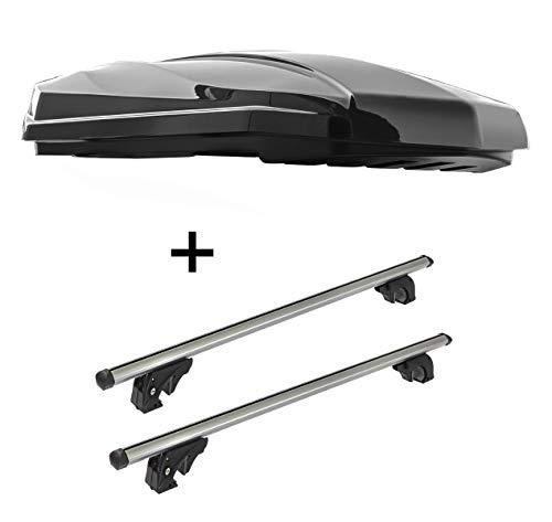 Dakbox Strike 440 liter zwart hoogglans + dakdrager/raildrager VDPLION1 compatibel met Volkswagen Polo V (6R/6C) Cross (5 deurs) 09-17
