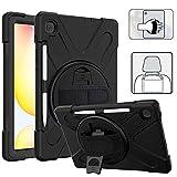 YGoal Case per Galaxy Tab S6 Lite Cover Kids Protettiva Antiurto Supporto 360° Girevole, Mano Tracolla e Tracolla Custodia per Samsung Galaxy Tab S6 Lite 10.4 P615/P610, Nero