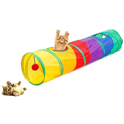 Cat Play Tunnel Pieghevole Lettino per Gatti/Conigli/Cane con 2 Canali Perfetto per Fare Gli Esercizi e Soddisfare la Curiosità al Gatto