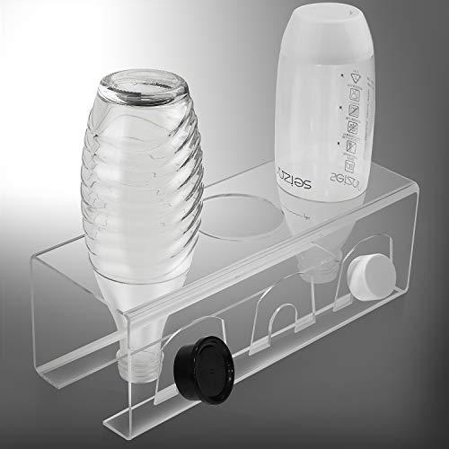 EXLECO SodaStream Flaschenhalter aus Acrylglas für 3 Flaschen und 3 Deckel Abtropfständer Flaschenhalter Dicke 3mm, Handtücher können platziert Werden