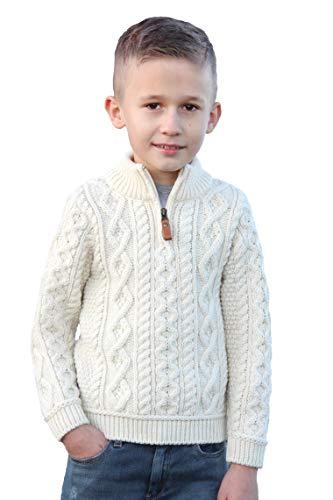 Aran Crafts Boy's Irish Cable Knitted Wool Half Zip Sweater (Z4559-6/7-NAT)