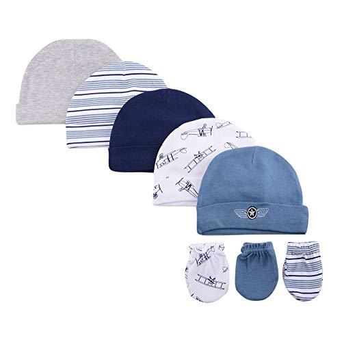 LACOFIA Neugeborenes Baby Beanie Mütze und Kratzfäustlinge Set 100% Baumwolle Kleinkind Jungen Hüte und Handschuhe 8 PCS 0-6 Monate