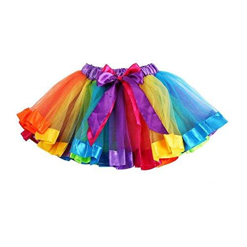 BéBé Robe Dancewear, OverDose Filles Des Gamins Jupon Arc En Ciel Pettiskirt Bowknot Jupe Tutu Rainbow Robe (7-9 ans)