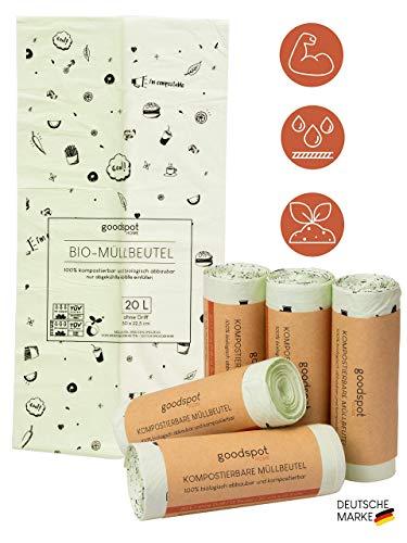 goodspot® 75x Premium Biomüllbeutel 20l bis zu 30% Dicker, reißfest und auslaufsicher Bio Müllbeutel ohne Tragegriff 100% kompostierbar in Biotonne und Komposter…