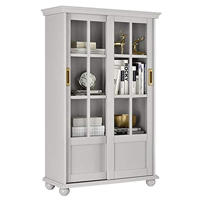 Diversified Closet Elegant and Modern Bookcase with Sliding Glass Doors, 2 Adjustable, 2 Fixed Shelves, Painted MDF, Living Room, Home Office, Sturdy and Durable for Long-Lasting use, Gray Finish