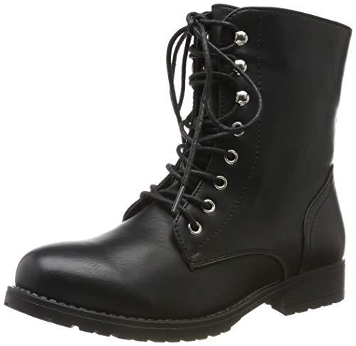 Damen Schnürstiefeletten Profilsohle Boots Camouflage Stiefeletten Leder Optik Schnür Übergrößen Schuhe 121103 Schwarz Black 38 Flandell